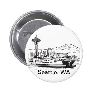 Seattle Ferry Washington State Line Art 6 Cm Round Badge