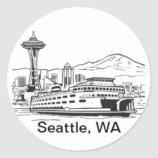 Seattle Ferry Washington State Line Art Classic Round Sticker