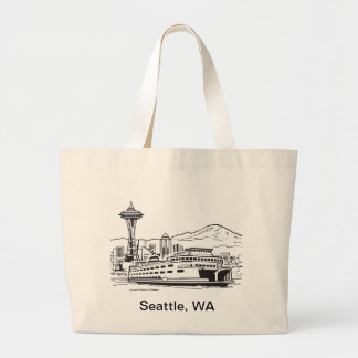 Seattle Ferry Washington State Line Art Jumbo Tote Bag
