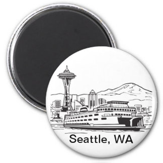 Seattle Ferry Washington State Line Art Magnet