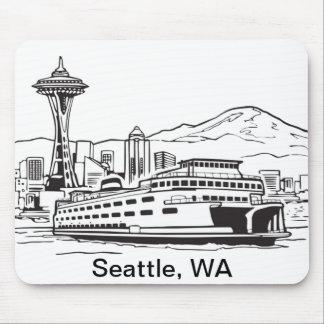 Seattle Ferry Washington State Line Art Mouse Pads