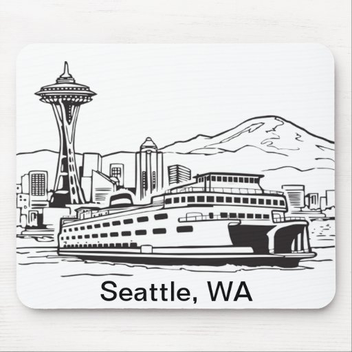 Seattle Ferry Washington State Line Art Mouse Pads