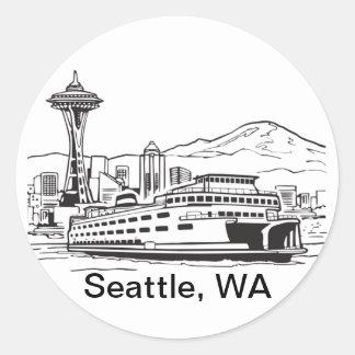 Seattle Ferry Washington State Line Art Round Sticker