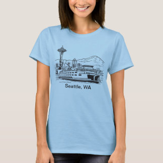 Seattle Ferry Washington State Line Art T-Shirt
