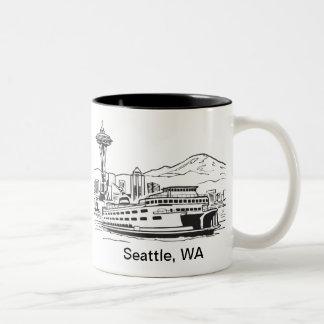 Seattle Ferry Washington State Line Art Two-Tone Coffee Mug