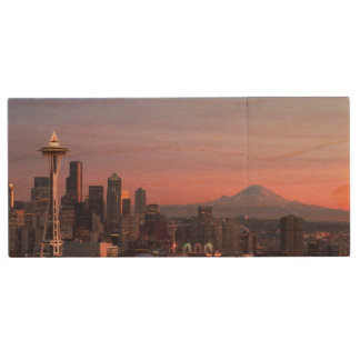Seattle from Kerry Park. Wood USB 2.0 Flash Drive