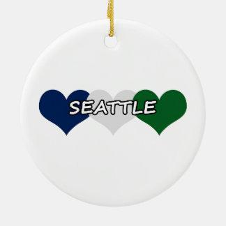 Seattle Heart Round Ceramic Decoration