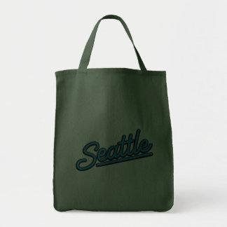 Seattle in cyan tote bag
