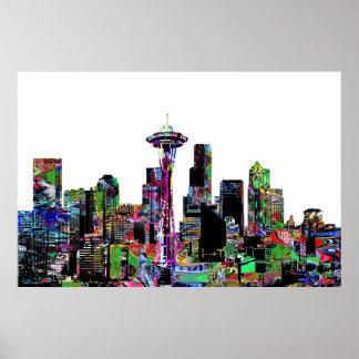 Seattle in graffiti poster
