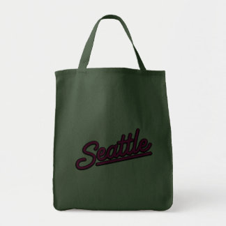 Seattle in magenta canvas bag