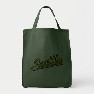 Seattle in yellow canvas bags