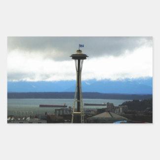 Seattle Landmark with Football Team Spirit Rectangle Sticker