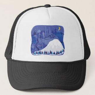 Seattle Landscape with Mount Rainier Trucker Hat