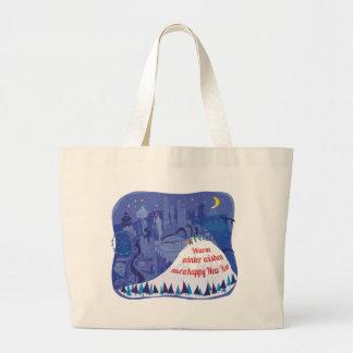 Seattle, Mount Rainier Holiday card Jumbo Tote Bag