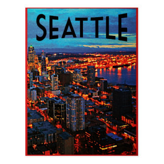 Seattle Night Skyline Postcard