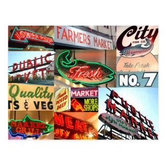 Seattle Public Market Typography Postcard