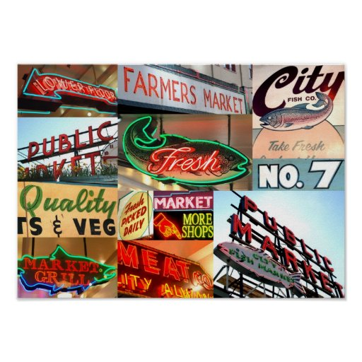 Seattle Public Market Typography Poster