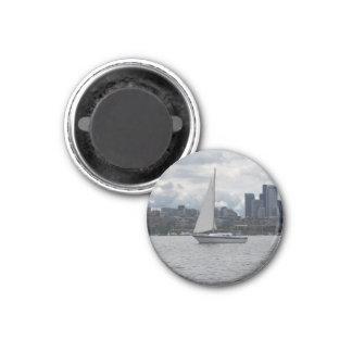 Seattle Sailboat Cityscape Magnet
