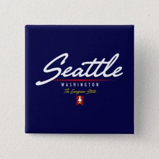 Seattle Script 15 Cm Square Badge