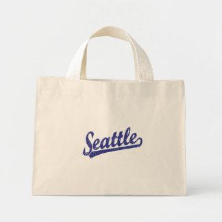 Seattle script logo in blue canvas bag