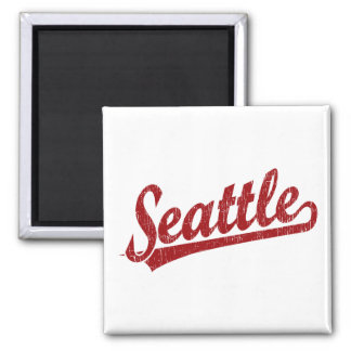Seattle script logo in red square magnet