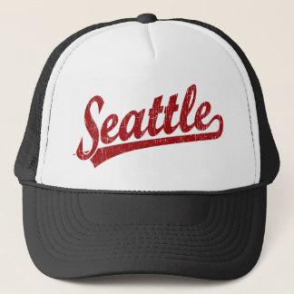 Seattle script logo in red trucker hat