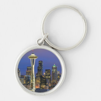Seattle seen from Kerry Park in Queen Anne Silver-Colored Round Key Ring