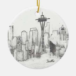 Seattle Sketch Round Ceramic Decoration