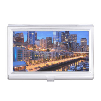 Seattle skyline and harbor, Washington State Business Card Holder