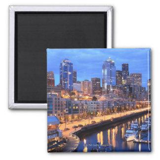 Seattle skyline and harbor, Washington State Magnet