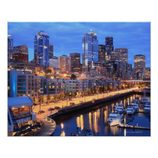 Seattle skyline and harbor, Washington State Poster