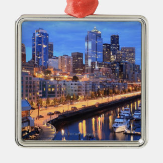Seattle skyline and harbor, Washington State Silver-Colored Square Decoration