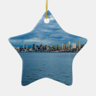 Seattle Skyline at Dusk Christmas Ornament