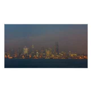 Seattle Skyline At Dusk. Photo Print