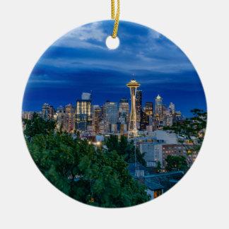 Seattle Skyline at Dusk Round Ceramic Decoration