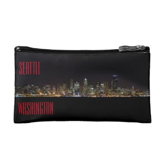 Seattle Skyline at Night Cosmetic Bags