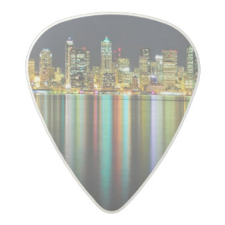 Seattle skyline at night with reflection acetal guitar pick