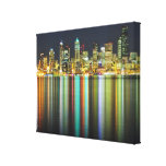 Seattle skyline at night with reflection canvas print
