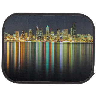 Seattle skyline at night with reflection car mat