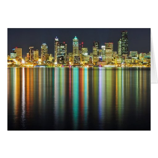 Seattle skyline at night with reflection greeting card