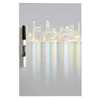 Seattle skyline at night with reflection dry erase white board