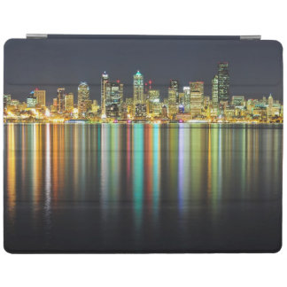 Seattle skyline at night with reflection iPad cover