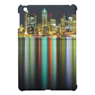 Seattle skyline at night with reflection iPad mini cover