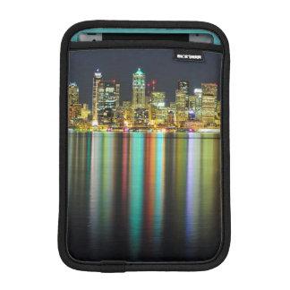 Seattle skyline at night with reflection iPad mini sleeve