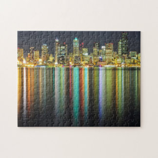 Seattle skyline at night with reflection jigsaw puzzle