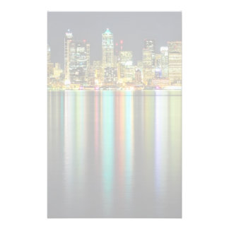 Seattle skyline at night with reflection personalized stationery