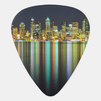 Seattle skyline at night with reflection plectrum