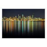 Seattle skyline at night with reflection poster