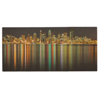 Seattle skyline at night with reflection wood USB 2.0 flash drive