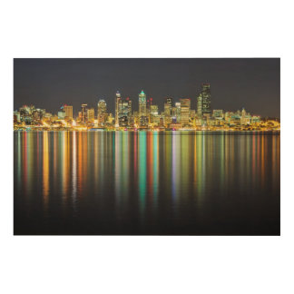 Seattle skyline at night with reflection wood wall art